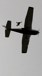 skydiver leaping from Cessna