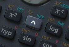 calculator's index (or power) button