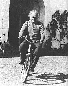 Einstein riding a bike