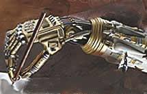 robot hand holding pen